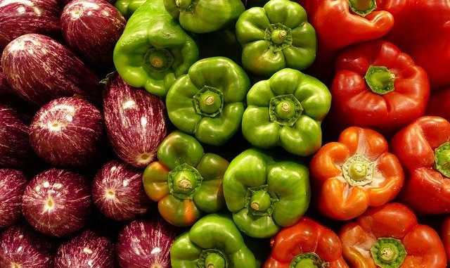 Paprika Red Green Eggplant Purple